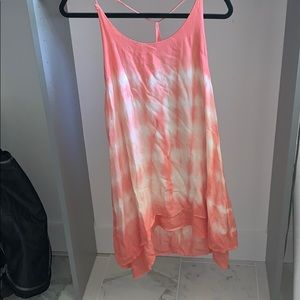 Tye-dye dress with pink yellow and white